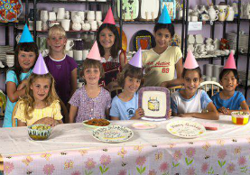 A photograph of a kids party.